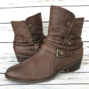 Baretrapes Ankle Boots 11 Brown Faux Leather Zip